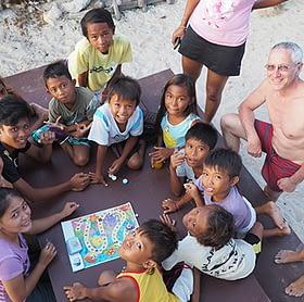 Teaching the local children a bit about their marine environment