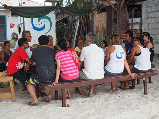 A meeting for local community members on Malapascua