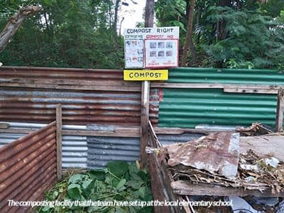 One community engagament initiative saw the establishment of a composting facility at the local elementary school