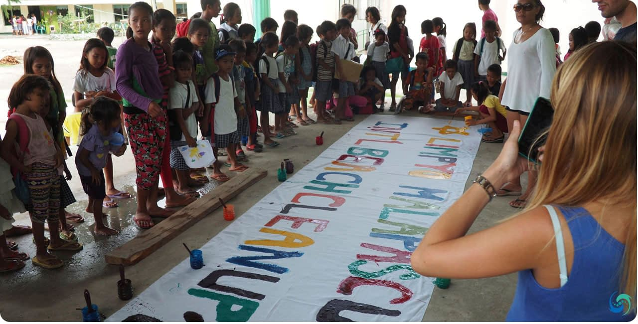 The kids admire their effort, to spread the message of ocean preservation in Cebu