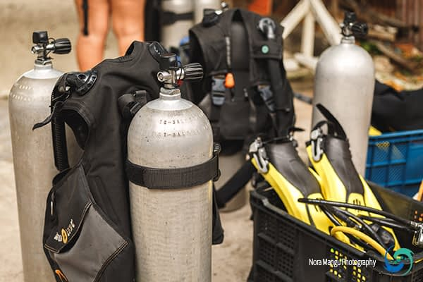 Setting up all dive equipment before heading out for diving around the island