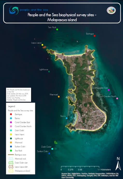 Our biophysical marine habitat survey sites around the Island of Malapascua, Municipality of Daanbantayan, Cebu