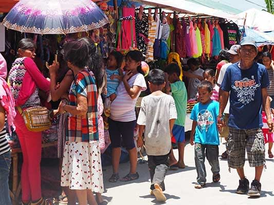 Shopping during the local Filipino fiesta.