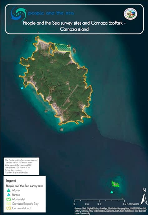 Our biophysical marine habitat survey sites around the Island of Carnaza, Municipality of Daanbantayan, Cebu