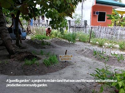 Turning areas of waste into productive areas and communnity spaces